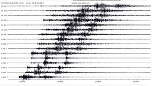 This image shows seismic traces of the main event and its first aftershock 30 seconds later (Credit: INSN)