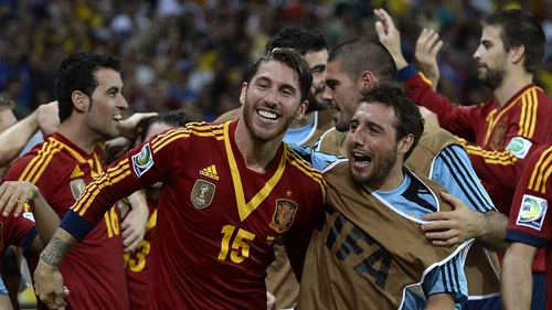 Spain celebrate reaching the Confederations Cup final
