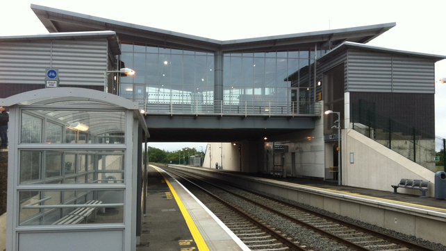 The first train stopped at Dublin's Hansfield Station after a three-year delay