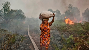 A woman walks through haze as a forest fire burns bushes and fields in Indonesia