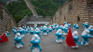 Smurfs 'invade' the Great Wall of China in celebration for Global Smurfs Day
