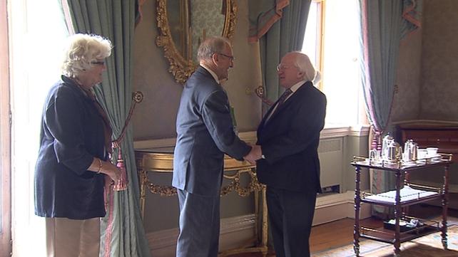 (L-R) Elizabeth and Dr Tiede Herrema met with President Michael D Higgins