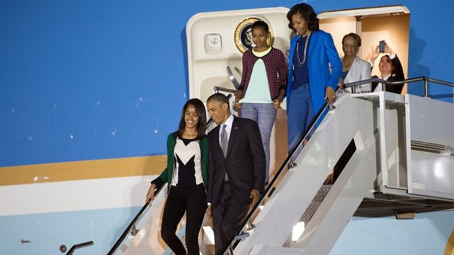 Barack Obama and his family arrived in South Africa last night