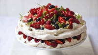 Summer Berry and Pistachio Pavlova Stack Cake - An epic, fruity summer dessert, which can easily be prepared ahead of time and assembled just before you are ready to serve.