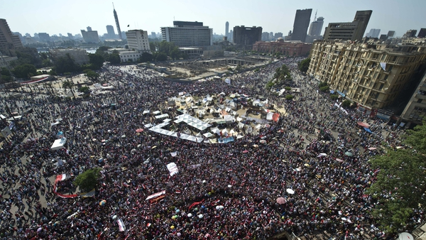 Huge numbers of people gathered around Tahrir Square