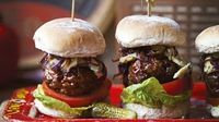 Blue Cheese Beef Sliders  - If you haven't heard of sliders before, they are an American invention and are basically mini burgers. They are perfect for party nibbles and this particular recipe has sweet caramelised onion and salty blue cheese served alongside.
