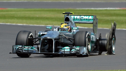 Lewis Hamilton's back-left tyre was one of a number to explode during the British Grand Prix