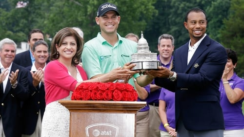 Tiger Woods was on hand to present Bill Haas with the winning trophy