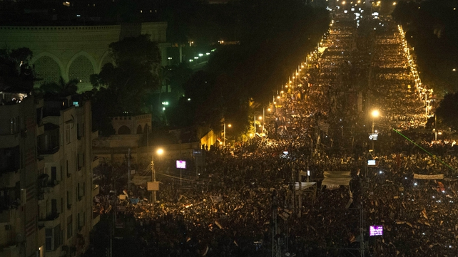 Millions of protesters gathered across Egypt