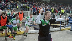 London substitutes race on to the pitch after their side beat Leitrim to reach the Connacht football final