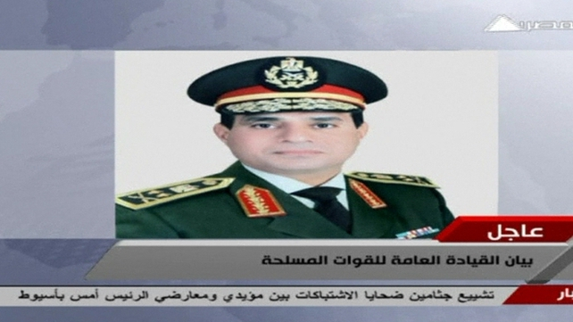 "General Abdel Fattah said the military would offer its own ""road map for the future"""