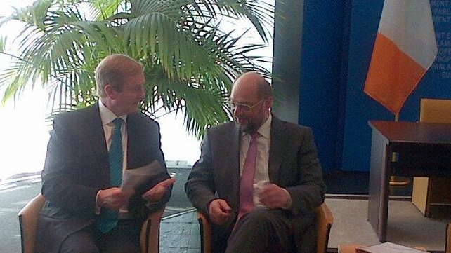 Enda Kenny spoke with President of the European Parliament Martin Schulz ahead of his speech (Pic: merrionstreet.ie)