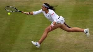 Marion Bartoli returns against US player Sloane Stephens