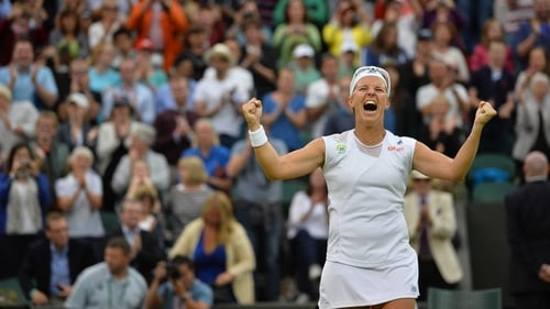 Kirsten Flipkins celebrates reaching the last four at Wimbledon