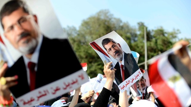 Supporters of Mr Mursi gathered in Cairo