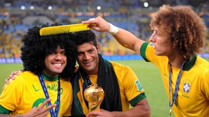 Brazil's Daniel Alves, Hulk and David Luiz have a laugh after they defeated Spain in the Confederations Cup final at the Maracana