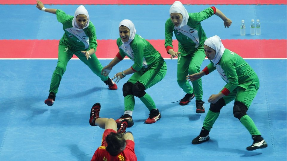 A Vietnam player reaches for the line during the Indoor Kabaddi Women's Team match against Iran at the Asian Indoor & Martial Arts Games in South Korea