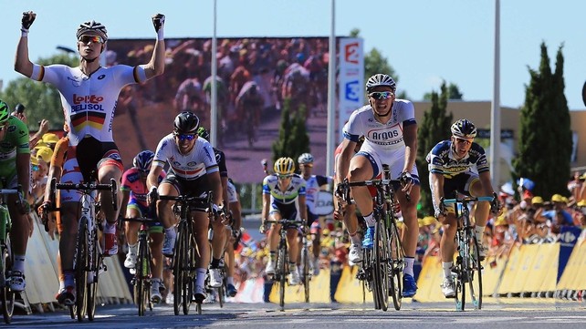 Andre Greipel (left) comes home to win stage six of the Tour de France