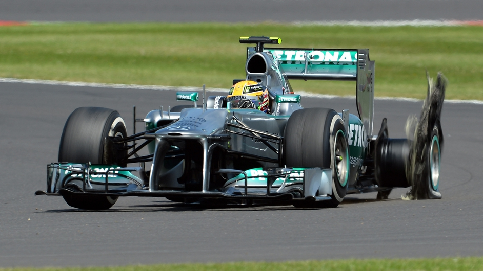 Mercedes driver Lewis Hamilton has a tyre failure during the British Grand Prix