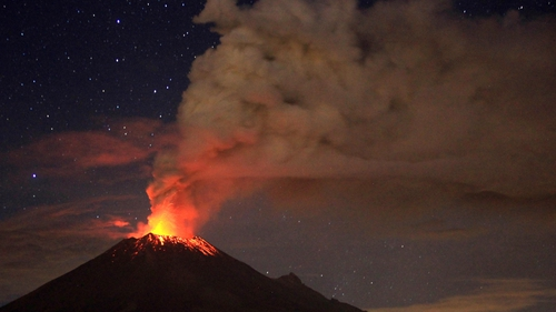 Ash spews from Mexico's Popocatepetl volcano in the central state of Puebla