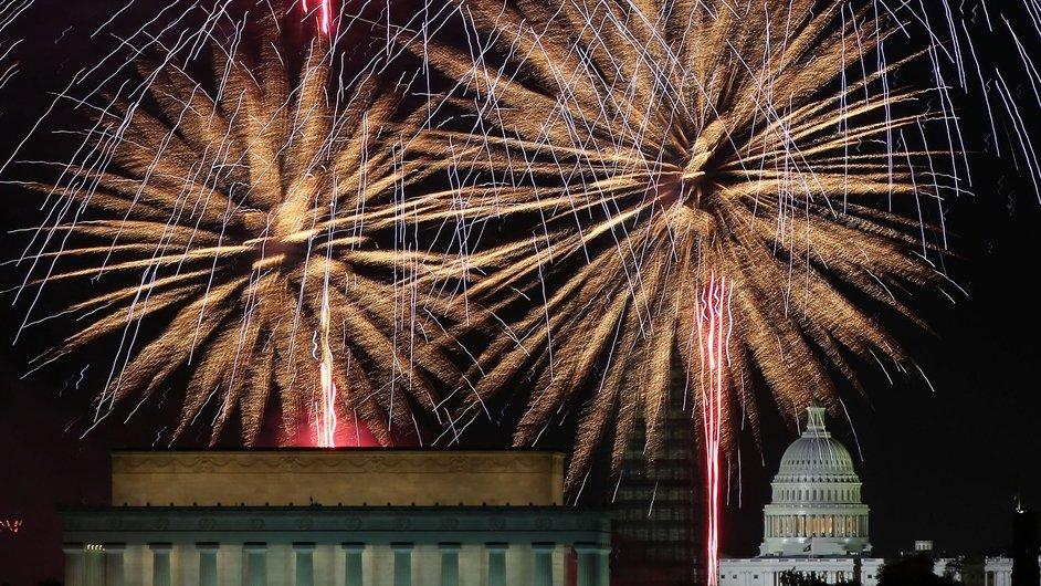 Fireworks light up the sky over Washington DC as part of the Independence Day celebrations