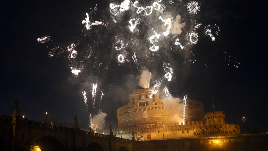 Fireworks explode over Castel Sant'Angelo in Rome to celebrate Saints Peter and Paul