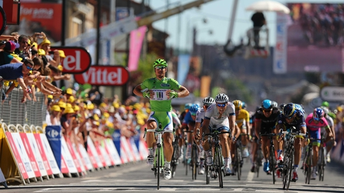 Peter Sagan crosses the finish line in Albi