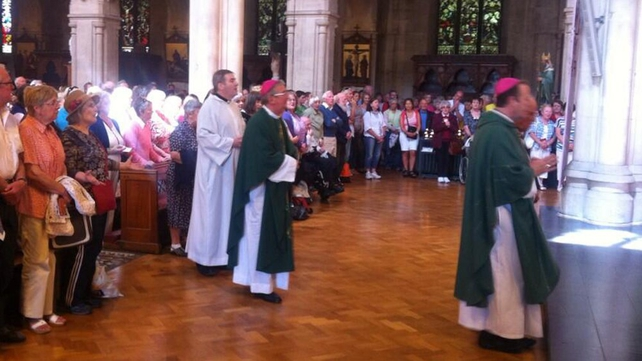 Dr Diarmuid Martin and Dr Éamon Martin concelebrated mass at St Saviour's Church before the protest