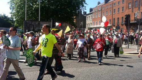 Gardaí estimate 35,000 attended the rally, though organisers claimed a higher figure