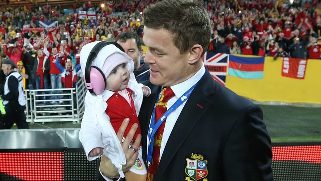Brian O'Driscoll with his daughter Sadie as the Lions celebrate their win