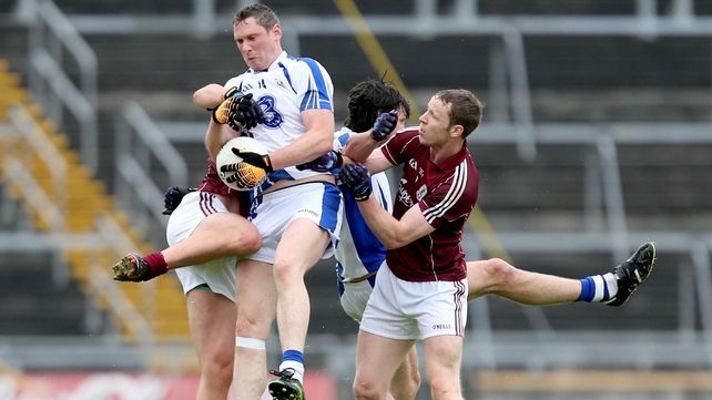 Waterford's Gary Hurney and Tommy Prendergast with Gary O'Donnell and Greg Higgins of Galway