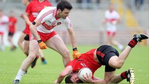Eoin Bradley and Peter Turley in action