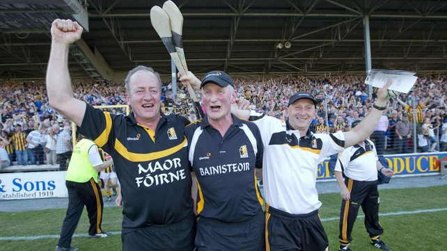 Kilkenny manager Brian Cody celebrates with selectors Martin Dempsey and Michael Fogarty