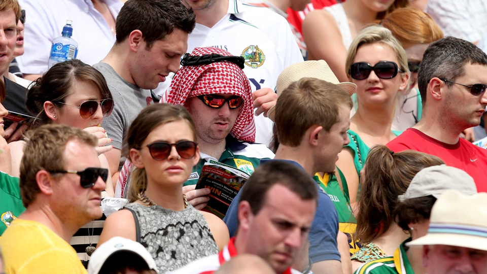 One Kingdom fan sported a Cork-themed keffiyeh in Killarney