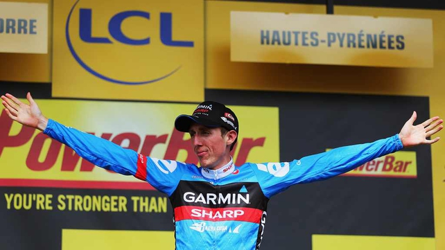 Dan Martin celebrates his achievement