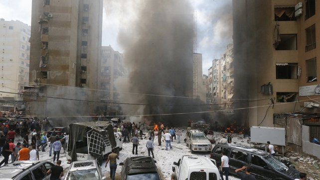 The blast happened in a stronghold of the Lebanese Shia Hezbollah group