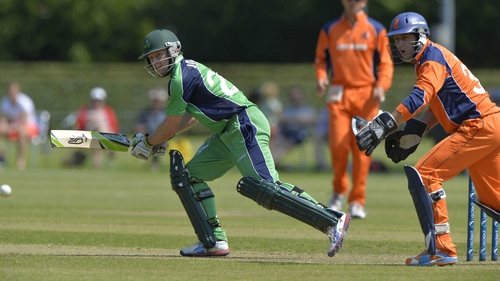 Ed Joyce en route to an unbeaten 96 as Ireland reached 268 for five in their quest to reach the World Cup