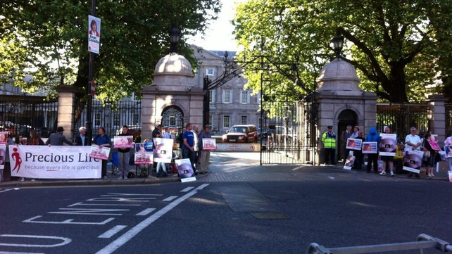 Groups opposed to and in favour of the legislation outside the gates of Leinster House
