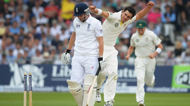 Mitchell Starc of Australia celebrates the wicket of Jonny Bairstow