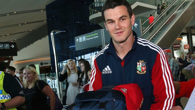 Jonathan Sexton returns home after a winning Lions tour