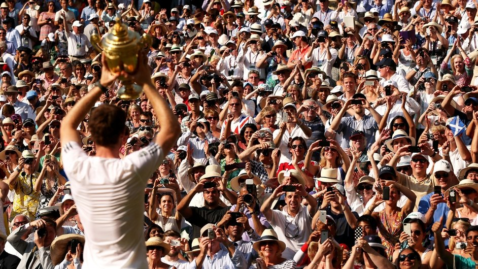 Andy Murray celebrates after becoming the first British man to win at Wimbledon since 1936