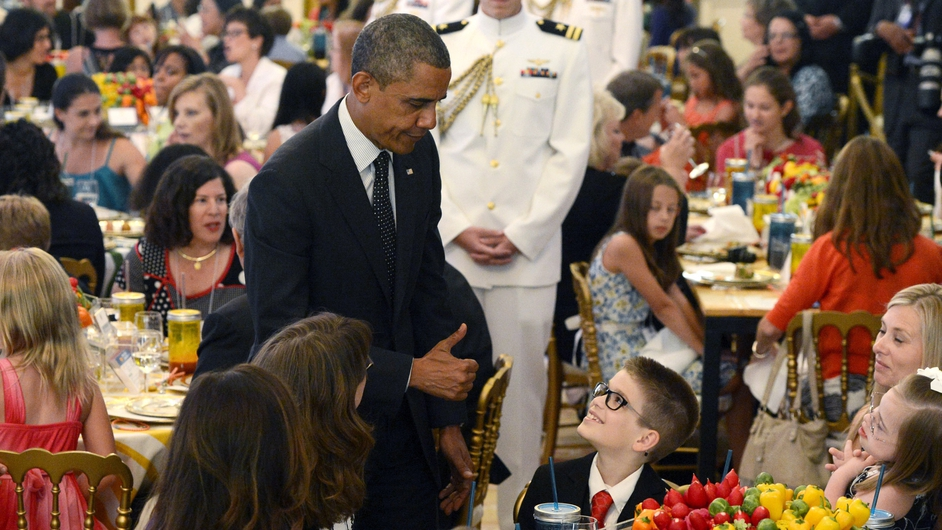 US President Barack Obama greets guests at the 'Kids State Dinner' at The White House