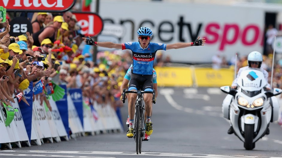 Ireland's Dan Martin celebrates winning Stage 9 of the Tour de France