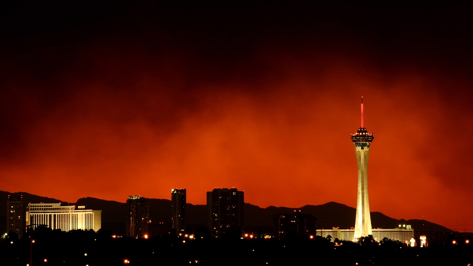 Smoke from a fire in the Spring Mountains obscures the Las Vegas sunset