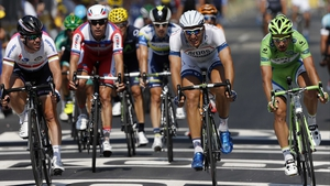 Marcel Kittel (second from right) beats Mark Cavendish (far left) and Peter Sagan (far right) to the line