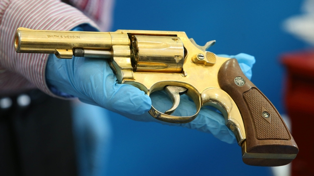 A replica golden gun was among the weapons found by gardaí