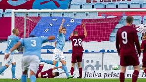 Emil Forsberg celebrates scoring the opener for Malmo