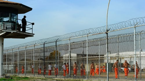 File image of inmates in the exercise yard of Chino State Prison in California