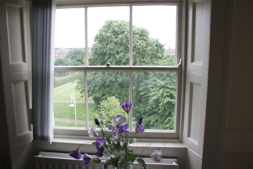 A view over Mountjoy Square from one of the childrens' bedrooms - now a classroom