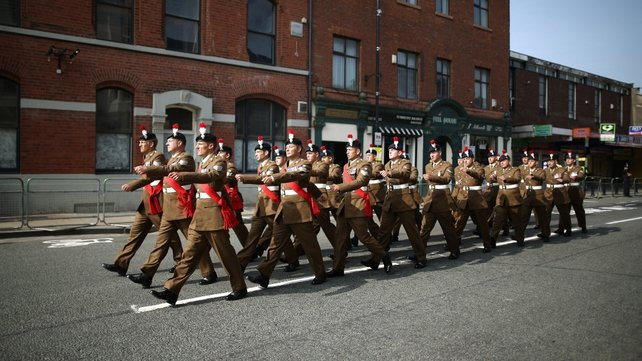 Members of The Royal Regiment of Fusiliers march through Bury ahead of the